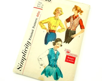 Vintage 1950s Womans Size 16 Weskit and Blouse Simplicity Sewing Pattern 2240 Complete / bust 36 waist 28