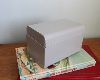 Gray Stealmaster Recipe or File Box with Rounded Edges, Standard Size, 3.5x5.5 on the Front and 3.5x5.5 on the Top, Metal, Heavy