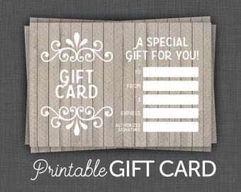 Gift Certificate, Wood Gift Card - Printable Gift Card - Digital, Instant Download