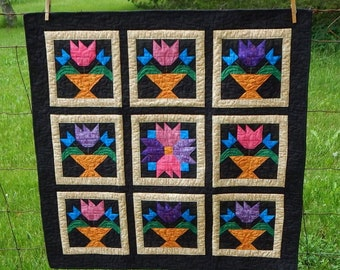 OOAK Tulips in Bloom Finished Quilt