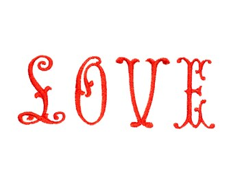 Love Embroidery Font - Valentine Monogram - Wedding Font - Love Letters Font - Candlestick Download - Machine Embroidery Font