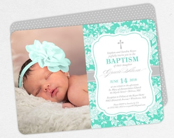 Photo Baptism Invitation, Christening Invitation, Girl Baptism Invitation, Printable Baptism, PDF, DIY, Damask, Floral, Lace, Blue, Gracie