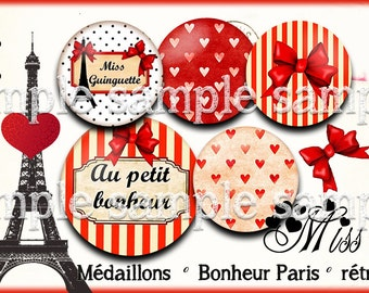 digital images * Paris happiness * eiffel red heart polka dot bow vintage collage digital scrapbooking cabochon jewel