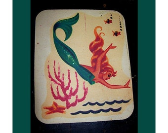 mermaid mouse pad retro 1950s pin up girl rockabilly vintage nautical kitsch office