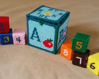 Soft Rattle Baby Blocks Set / Plastic Canvas / Handmade