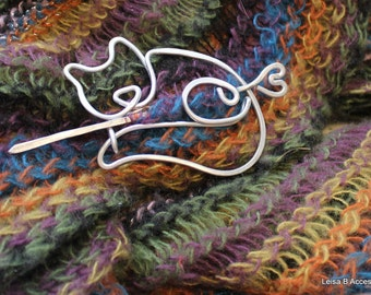 Kitty Cat Pin for Shawls, Sweaters, Scarves, Jackets, Wraps, Cat Pin, Shawl Pin, Knitted Shawl Pin, SP19