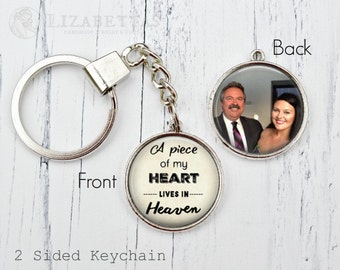 MEMORIAL KEYCHAIN - In Memory Of - Memorial Necklace - Memorial Charm - Remembrance Gifts - A Piece of My Heart is in Heaven