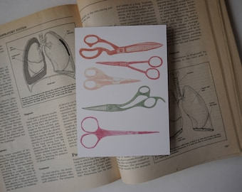 Scissors Postcard Print - Colored Pencil Drawing - Gift for Seamstresses, Makers, Crafters, Designers, Creators