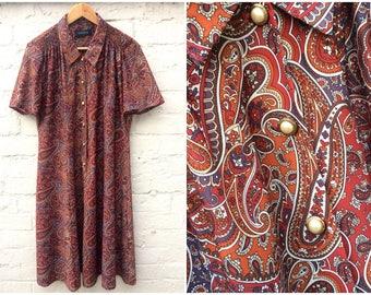 Paisley dress, patterned style, 80's vintage women's fashion