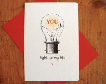You light up my life Romantic Valentine's Card Personalised Love Quote Vintage Quirky Valentine's Day  FREE UK P&P