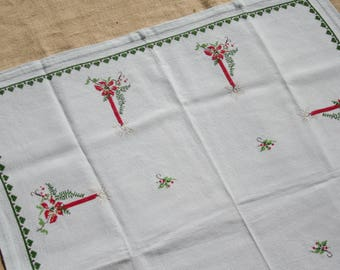 Vintage Green Christmas Tablecloth Cross Stitched Red Candles 34 x 40 inches