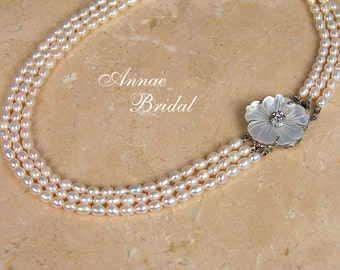 """White freshwater pearl necklace with Mother-of-Pearl flower clasp, wedding, bridal, """"Garden Romance"""" necklace"""