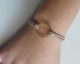 glitter and gold ring in beige suede women bracelet