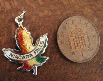 Sterling Silver Niagara Falls Enamelled Pendant/Charm