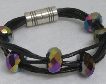 "Leather Bracelet ~ Black with Beads ~ Size 6 1/2"""