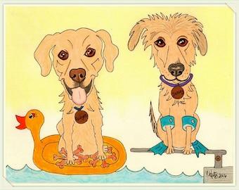 Dog Art, Dog Drawing, Custom Pet Portrait, Pet Caricature, Dog Cartoon, Pet Cartoon, Pet Gifts, Personalized Pet, Funny Pet Art, Custom Dog