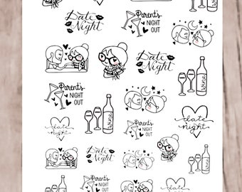 SANDY DATE NIGHT Planner Stickers | perfect for all planners | neutral, hand drawn | CQ60-18