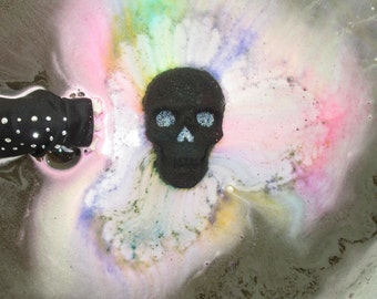 Half Skull Rainbow Burst Holographic Glitter Accented Skull Bath Bomb