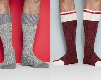 Melange and Deep Cherry Winter Sock Set of Two Pairs for Men and Women