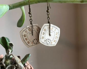 Vintage Watch Face Earrings / Rounded Square