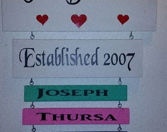 Family sign with kids names (up to 5 Names) more Available