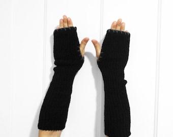 Long Fingerless Gloves / Armwarmers [Black & Gray]