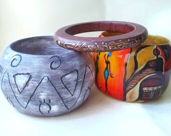 Handpainted African Style Bracelets