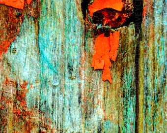 Photo print old wood, rustic, abstract, printing, interior decoration, 8x12, 10x15, 12x18, 14x21, 16x24, tone red pink green blue