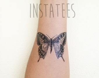 Awesome Black Temporary Butterfly Tattoo Tumblr Style