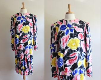 Vintage 1980s Argenti Multicolor Silk Drop Waist Dress