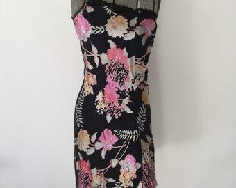 Vintage BETSEY JOHNSON Dress • 1990s Clothing • Designer Bias Cut Silk Slip Dress Burnout Velour Slinky Black Floral Pink Small Medium 4 6 8