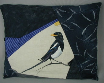 Vintage Toss Pillow, Occasional Pillow, One of a Kind, Artisan Made, Pieced Patchwork with Hand Painted Magpie Bird, 16 x 12 1/2""