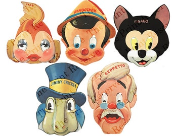 Printable Group Costume DIY Halloween Masks Group Costume Paper Masks Pinocchio Kids Adults Couple Family Intant Digital Download