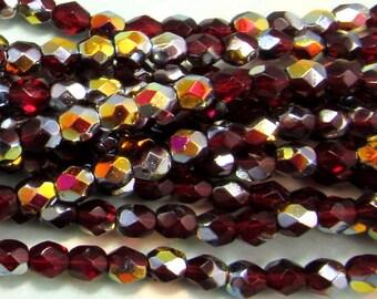 Czech Glass Beads 4mm Ruby Red Marea 50 Pc. C203
