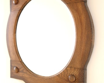 Unusual English Oak Mirror Dating to 1920s with Arts & Craft Movement Influence