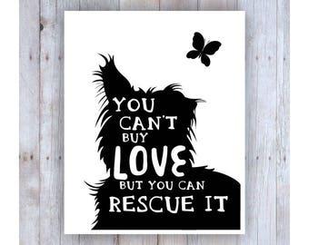 Dog Rescue Art, Black and White, Rescue Quote, Pet Rescue, Dog Adoption, Pet Adoption, Dog Decor, Dog Wall Decor, Dog Silhouette, Dog Phrase