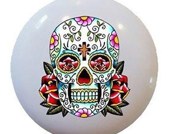 Day of the Dead Sugar Skull Flower Ceramic Knobs Pulls Kitchen Drawer Cabinet Vanity Closet