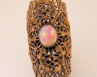 Dragon's Breath Brass Filigree Ring Adjustable Statement Ring Vintage Ring Vintage Jewelry