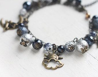 Night Sky Charm Bracelet in Antique Brass - Skye Themed Bracelet with Silver, Black and Grey
