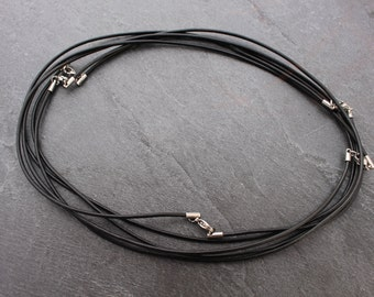 "20 Inch Black Leather Cord / Necklace 20"" Stainless Steel Lobster Clasp, Silver Color"