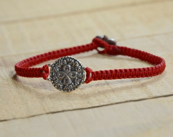 Unisex Love Amulet on Red Hand Woven Bracelet