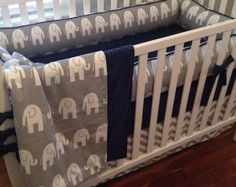 Elephant Crib Bedding. Navy and Gray Baby Bedding. Chevron Crib Skirt. Boy Crib Bedding. Elephant Baby Bedding. Gray Crib Bumper. Crib Set.