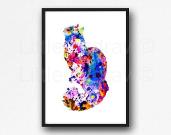 Cat Print Fluffy Rainbow Cat Watercolor Painting Print Cat Wall Decor Bedroom Wall Decor Wall Art Home Decor Cat Lover Gift Unframed