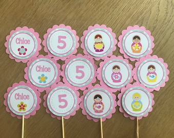 Babushka / Matryoshka / Russian Doll Personalised Cupcake Toppers ~ for Birthdays, Baby Shower, Party, Christening, Naming Day