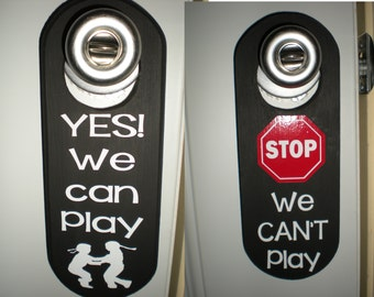 Custom Kids Play Date Can't Play Wooden Door Hanger