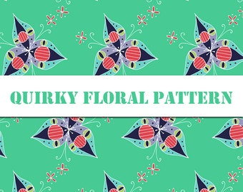 Fun Quirky Floral Pattern Printable Digital Pattern / Digital Paper