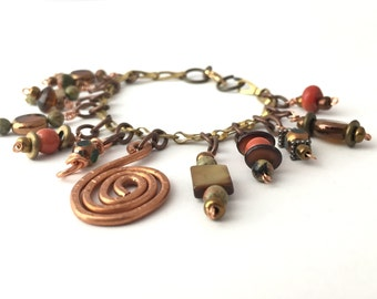 Boho Charm Bracelet, Copper Spiral, Charm Bangle, Mixed Metal,  Rustic, Earthy By Design Jewelry