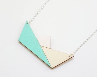 ALIZI. Bijoux en PLAY-bois - bois en bois / pendentif Collier / pendentif / origami bateau en papier / menthe / géométrique collier en bois bijoux
