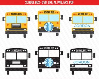 School bus SVG, School bus monogram, Back to school svg, Silhouette Studio, Cricut - Instant digital Download - Svg, Dxf, Ai, Pdf, Eps. Png