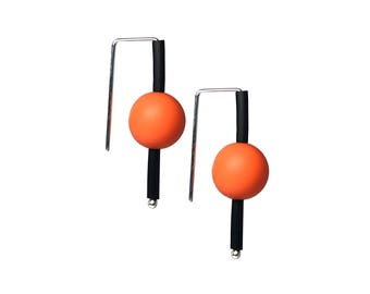 orange earrings bold design, statement style handmade  in silver and rubber by Frank Ideas
